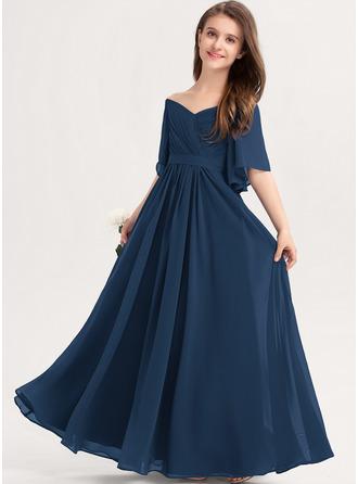 A-linjainen Off--Shoulder Lattiaa hipova pituus Sifonki Nuorten morsiusneito mekko jossa Rypytys Rusetti