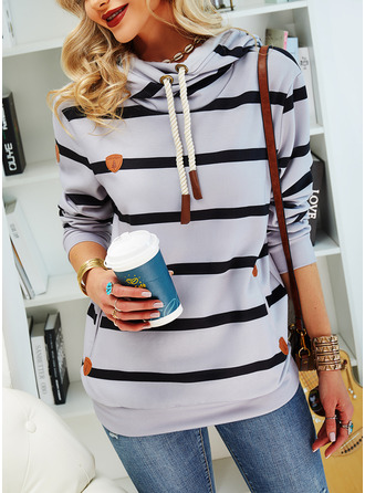 Striped Long Sleeves Hoodie (1001255146)