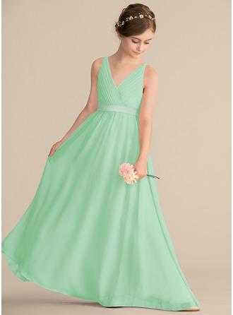 A-linjainen/Prinsessa V-kaula-aukko Lattiaa hipova pituus Sifonki Nuorten morsiusneito mekko jossa Rypytys Rusetti