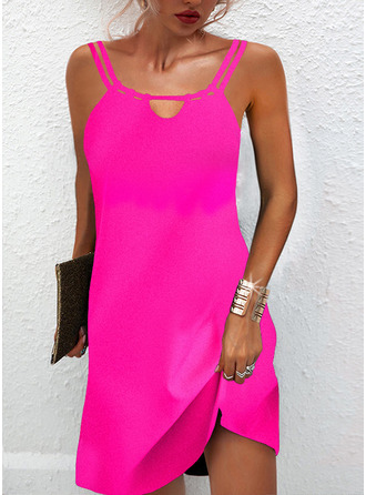 Solid Shift Sleeveless Mini Little Black Casual Type Dresses