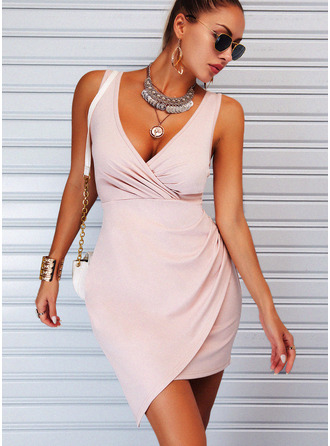 Solid Sheath Sleeveless Mini Elegant Dresses
