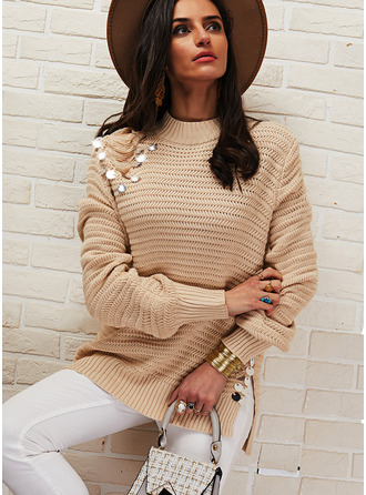 Stand collar Casual Sequins Solid Sweaters