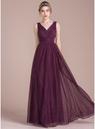 A-Line/Princess V-neck Floor-Length Tulle Prom Dress With Ruffle