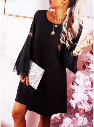 Lace Solid Shift Flare Sleeve Long Sleeves Mini Little Black Casual Tunic Dresses