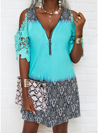 Print Shift 1/2 Sleeves Mini Casual Vacation Tunic Dresses