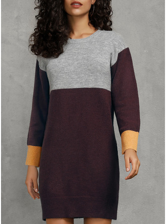 Round Neck Casual Long Color Block Cable-knit Sweaters
