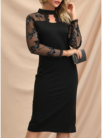 Lace Sequins Bodycon Long Sleeves Midi Little Black Party Elegant Pencil Dresses