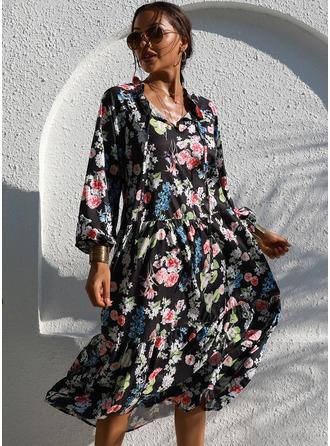 Midi V neck Polyester Print 1/2 Sleeves Fashion Dresses