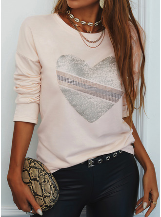 Print Heart Round Neck Long Sleeves Casual T-shirt