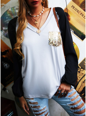 Color Block Sequins V-Neck Long Sleeves Casual T-shirt