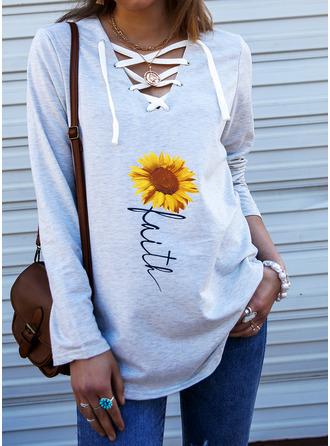 Sunflower Print V-Neck Long Sleeves Sweatshirt