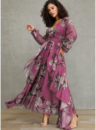 Floral Imprimeu Bir Çizgi Mâneci Lungi Maxi Zarif Patenci Moda Elbiseler