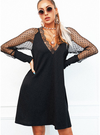 Lace Solid Shift Long Sleeves Mini Little Black Elegant Dresses