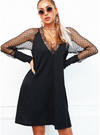 Krajka Pevný Šaty Shift Dlouhé rukávy Mini Malé černé Elegantní Módní šaty