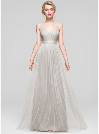 A-Line/Princess V-neck Floor-Length Tulle Bridesmaid Dress