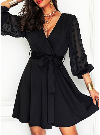 Solid A-line Long Sleeves Mini Little Black Party Skater Dresses