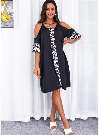 Leopard Print Shift 1/2 Sleeves Midi Casual Tunic Dresses