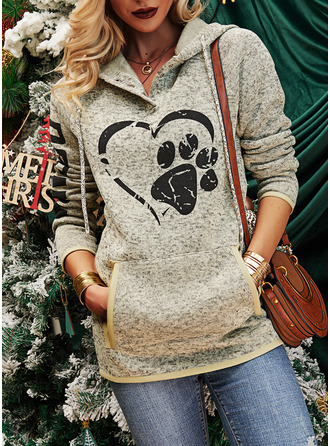 Animal Print Figure Long Sleeves Hoodie