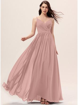 A-Line V-neck Floor-Length Chiffon Bridesmaid Dress With Ruffle Lace