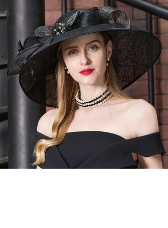 Ladies' Glamourous Cambric With Feather/Rhinestone Floppy Hat
