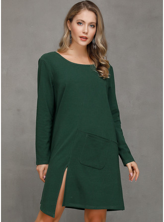 Solid Shift Long Sleeves Midi Mini Casual Tunic Dresses