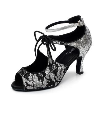 De mujer Encaje Tacones Sandalias Danza latina Sala de Baile Salsa con Cordones Zapatos de danza