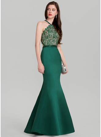 Trumpet/Mermaid V-neck Floor-Length Satin Prom Dress With Beading