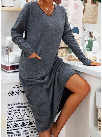 Dekolt w kształcie litery V Nieformalny Długi Jednolity Kieszenie Swetry