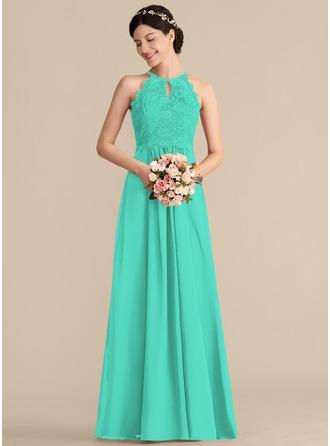 A-Line/Princess Scoop Neck Floor-Length Chiffon Lace Prom Dresses