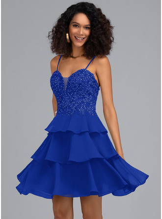 A-Line Sweetheart Short/Mini Chiffon Homecoming Dress With Beading