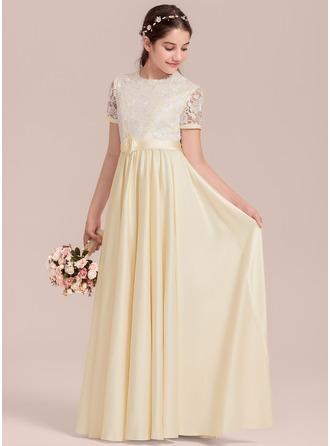 Forme Princesse Longueur ras du sol Robes à Fleurs pour Filles - Satiné Manches courtes Col rond avec Fleur(s)