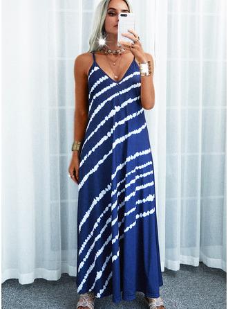 Print Shift Sleeveless Maxi Casual Type Dresses