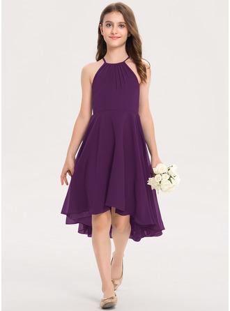 A-Line Scoop Neck Asymmetrical Chiffon Junior Bridesmaid Dress With Ruffle