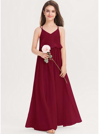 A-linjainen V-kaula-aukko Lattiaa hipova pituus Sifonki Nuorten morsiusneito mekko