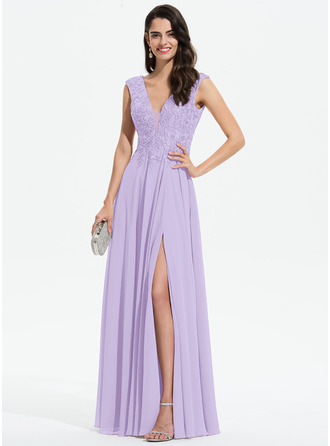 A-Line V-neck Floor-Length Chiffon Prom Dresses With Lace Split Front
