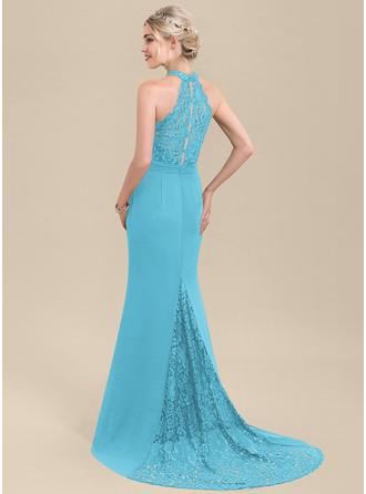 Trumpet/Mermaid High Neck Sweep Train Chiffon Lace Evening Dress