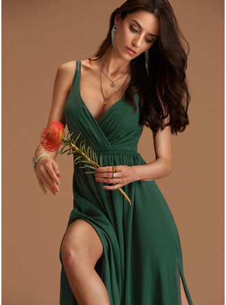 V-Neck Hunter Green Chiffon Dresses
