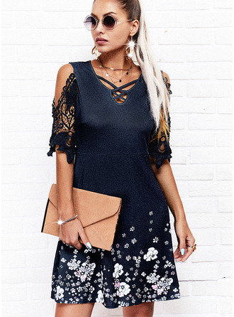 Floral Lace Print A-line 1/2 Sleeves Mini Casual Skater Dresses