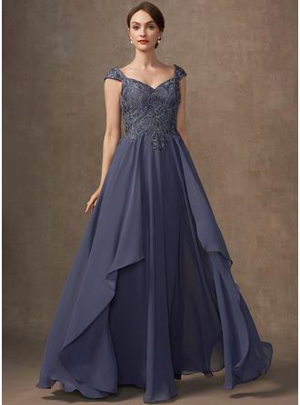 Трапеция V-образный Длина до пола шифон Кружева Платье Для Матери Невесты с развальцовка блестки