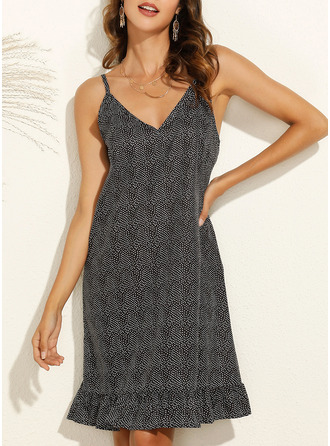 Floral PolkaDot Print Shift Sleeveless Mini Casual Vacation Type Dresses
