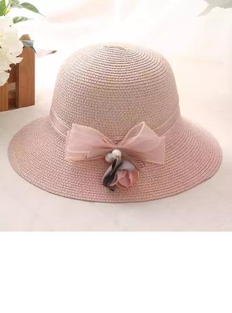 Dames Prachtige Rotan Straw met Imitatie Parel/strik Strohoed/Theepartij hoeden