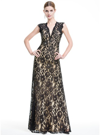 A-Line/Princess V-neck Floor-Length Lace Evening Dress With Beading