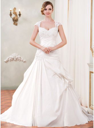 Ball-Gown Sweetheart Chapel Train Taffeta Wedding Dress With Ruffle Lace Beading Sequins