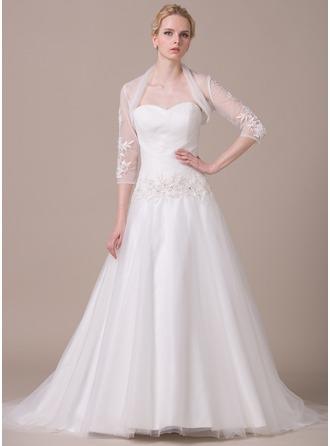 De baile Coração Cauda de sereia Tule Vestido de noiva com Pregueado Renda Bordado Lantejoulas