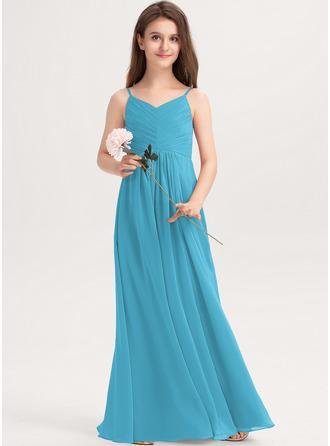 A-linjainen V-kaula-aukko Lattiaa hipova pituus Sifonki Nuorten morsiusneito mekko jossa Rypytys