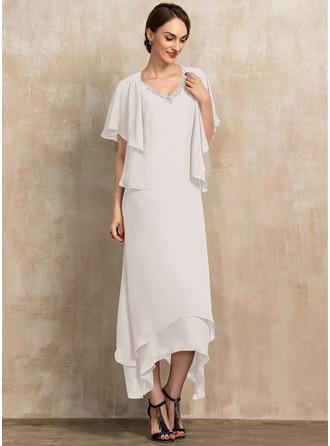 Трапеция V-образный Длина по щиколотку шифон Платье Для Матери Невесты с развальцовка