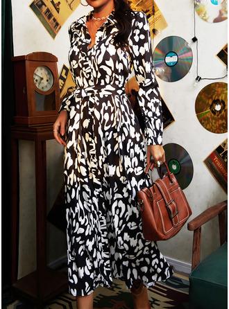 Druck Etui Lange Ärmel Midi Lässige Kleidung Urlaub Hemdkleider Modekleider