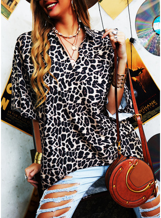 Leopard V-Neck 1/2 Sleeves Casual