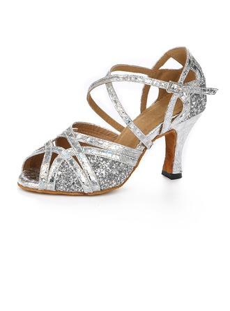 De mujer Brillo Chispeante Tacones Sandalias Danza latina con Tira de tobillo Zapatos de danza