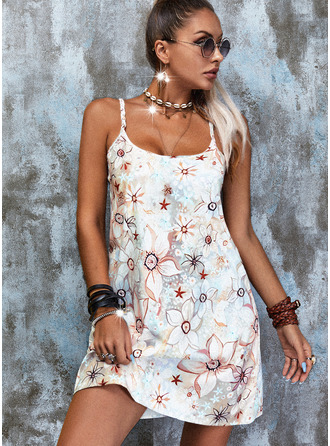 Blumen Druck Etuikleider Ärmellos Mini Lässige Kleidung Typ Modekleider